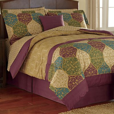 Graystone Complete Bed Set, Accent Pillow and Window Treatments