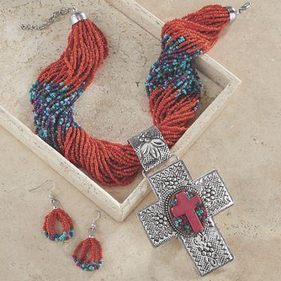 Cross/Bead Necklace/Earring Set