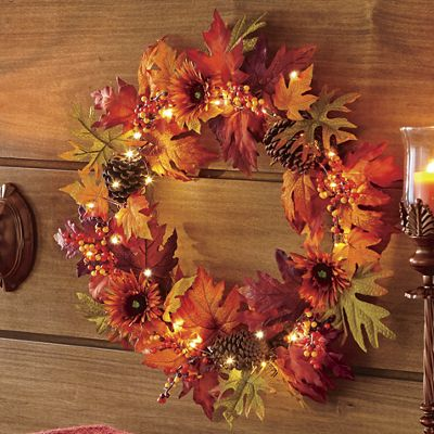 Fall Sunflower LED Wreath
