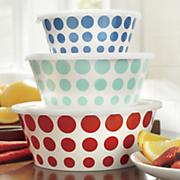 set of 3 assorted melamine polka dot bowls with plastic lids