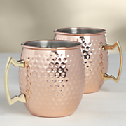 set of 2 hammered moscow mule mugs