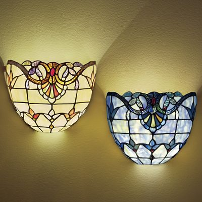 Stained Glass Wireless Wall Sconces : Wall Lamps & Sconces - Stained Glass, Wall lights & Seventh Avenue