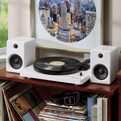 Modern Bluetooth Stereo Turntable with 50-Watt Speakers