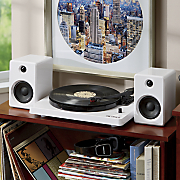 modern bluetooth stereo turntable with 50 watt speakers