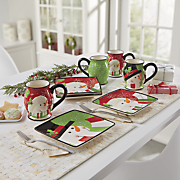 4 piece happy snowman plate and mug sets