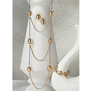 oval bead necklace and earring set
