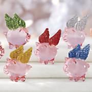 7 pc  mini flying pig set