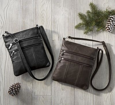 Zipper Leather Crossbody Bag