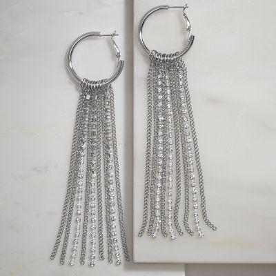 Crystal/Chain Drop Hoops