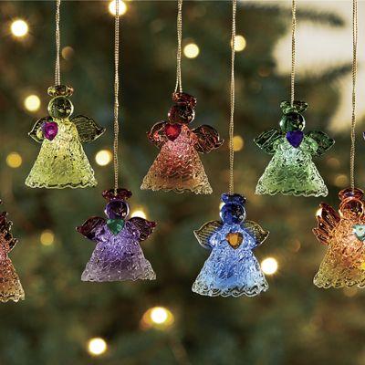 8-Piece Lit Angel Ornament Set