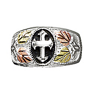 men s black hills gold cross ring