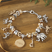 personalized name two tone safari charm bracelet