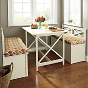 cottage dining table  storage bench and indoor outdoor bench cushion