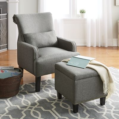 Rollback Accent Chair & Storage Ottoman