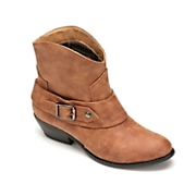 women s distressed side buckle bootie