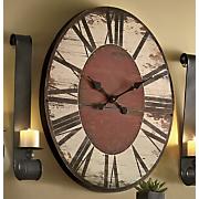 distressed oval clock