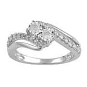 10k gold diamond 2 stone ring