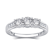 10k gold diamond 3 stone ring