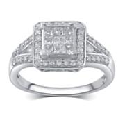 10k gold diamond square frame ring