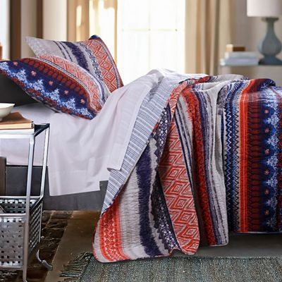 Urban Boho Quilt Set, Panel Pair, Shower Curtain & Throw
