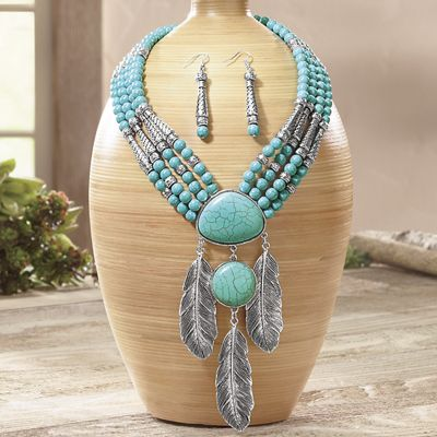 Faux Turquoise/Feathers Necklace/Earring Set