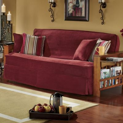 3-Piece Skirted Sueded Microfiber Futon Cover Set