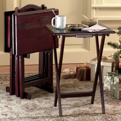 5-Piece Solid Wood Tray Table Set