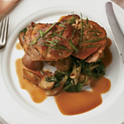 Roasted Boneless Veal Chop Stuffed With Artichoke, Wisconsin Swiss