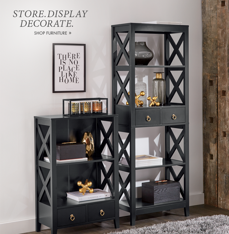 Store. Display. Decorate.  Versatile and beautiful cabinets. Shop Furniture