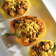 Quinoa Chorizo and Wisconsin Cheddar Stuffed Peppers
