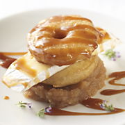 Wisconsin Brie with Crispy Apple Fritters Salted Caramel and Apple Butter