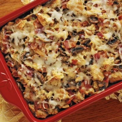Wisconsin Swiss and Croissant Casserole with Bacon and Mushrooms
