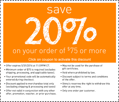 Save 20% on an order of $75 or more.