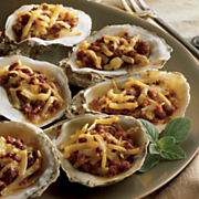 Wisconsin Smoked Gouda Baked Oysters And Chorizo