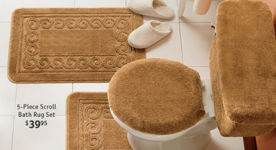 5-Piece Scroll Bath Rug Set