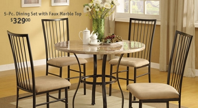 5-Pc. Dining Set with Faux Marble Top