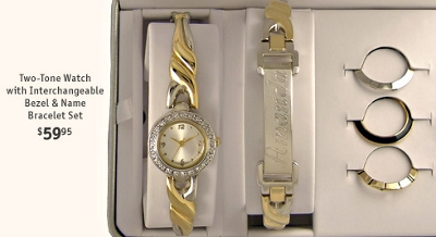 Two-Tone Watch with Interchangeable Bezel & Name Bracelet Set