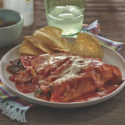 Spinach, Mushroom and Cheese Enchiladas
