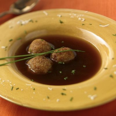 Caramelized Onion Soup Broth With Croquettes Of Wisconsin Fontina And Asiago Cheeses