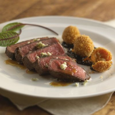 Seared Sherry Ribeye with Wisconsin Blue Cheese Croquettes and Chile Ancho Jam