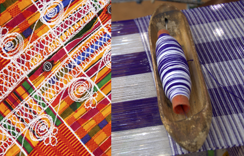 colorful afrocentric fabric and loom