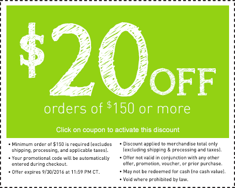 Save $20 on your next order of $120 or more.