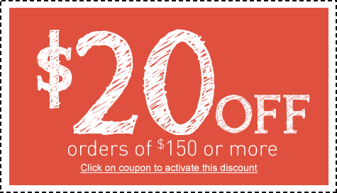 Save $20 off Orders $150 or More