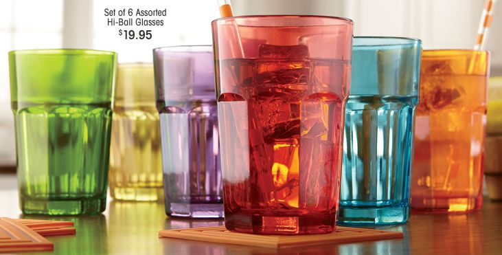 Set of 6 Assorted Hi-Ball Glasses