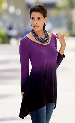 Go with the Flow.  Top off your look with this curve-skimming silhouette. Shop Tunics