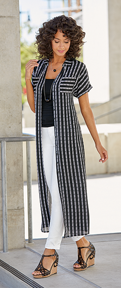 The Versatile Duster Dress. Wear it open or belted for 2 looks in 1! Shop On Trend