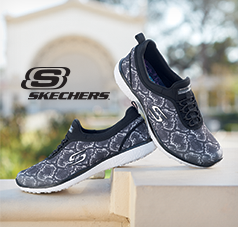 Skechers Footwear category, displaying the Microburst Mamba Shoe in black and white