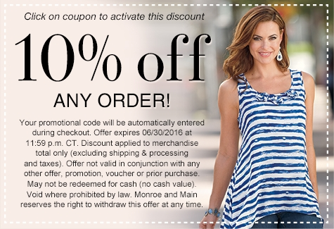 Take 10% off any order with Monroe and Main Coupons