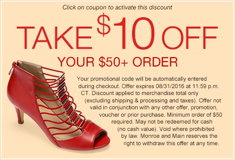 Take $10 off any order of $50 or more with Monroe and Main Coupons