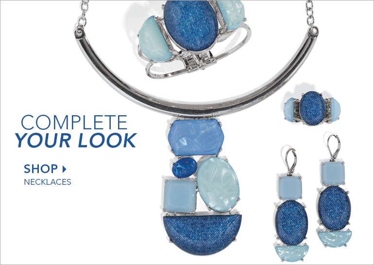 Blue Faux-Stone/Silvertone Jewelry - Complete Your Look - Shop Necklaces